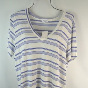 Splendid Everly White Blue T-shirt Top